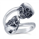 Sterling Silver Human Skull Adjustable Ladies Spoon Ring