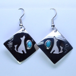 turquoise sterling silver wolf earrings