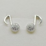 Music Note White Zircon sterling silver 925 post studs earrings