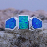 Sterling silver Inlaid 3 blue Fire Opal Ladies Ring