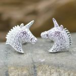 Unicorn White Zircon sterling silver 925 post studs earrings
