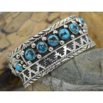 Wide Sterling Silver Sleeping Beauty Turquoise cuff bracelet