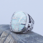 Inlaid White Fire Opal and White Fire Opal Mosaic Gemstone sterling silver 925 Men Ring