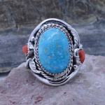 Sterling silver Genuine Large Turquoise and red Coral Men's Ring size 10.5 11