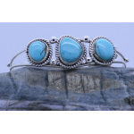 Ladies' Sterling Silver Genuine 3 Turquoise cuff bracelet adjustable Handmade