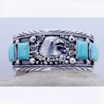 Men's Massive Sterling Silver Sleeping Beauty Turquoise Eagle Head cuff bracelet