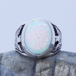 Thunderbird Inlaid White Fire Opal Gemstone Men's Ring by Native American Navajo Artist