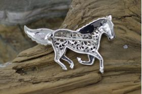 Stunning Handmade Sterling Silver filigree Horse Brooch Pin with giftbox