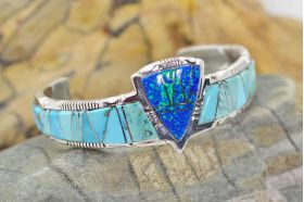 opal turquoise inlaid cuff