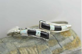 Sterling Silver 925 Inlaid Black Onyx and  Fire Opal Mosaic Inlaid cuff bracelet