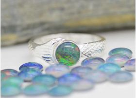 Genuine Opal Triplet Mako Mermaid Ring Sterling Silver
