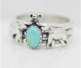 Elephants sterling silver band ring