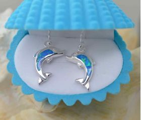 Dolphin Blue Fire Opal Inlay Drop sterling silver 925 earrings