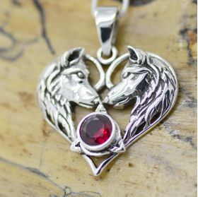 wolf couple heart pendant sterling silver with birthstone