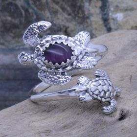 turtles spoon ring with purple tiger-eye