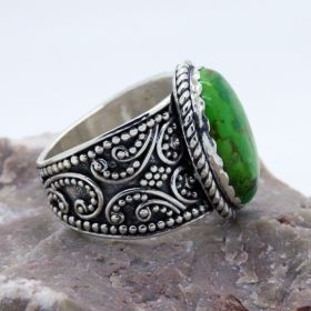 green turquoise sterling silver wideband