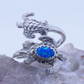 turtles spoon ring with blue opal