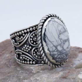 white turquoise sterling silver wide band ring