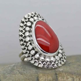 Handmade Sterling Silver Deep Red Coral Ring