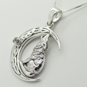 Beautiful Howling Wolf sitting on the Moon pendant Unisex with/without Birthstone all sterling silver 925