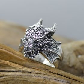 Stunning Dragon Men's Ring Sterling SIlver 3d