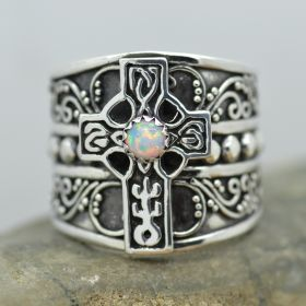 celtic cross wide band ring sterling silver