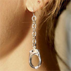 Large Cop Handcuffs Earrings