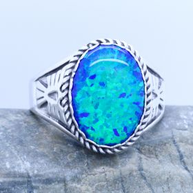 blue opal mens ring