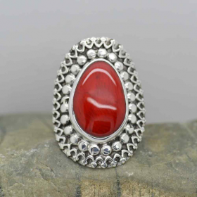Sterling Silver Deep Red Coral Ring