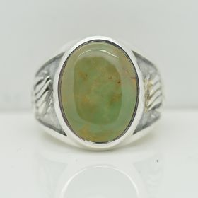 Bear Paw Inlaid Natural Green Turquoise Gemstone Men Ring