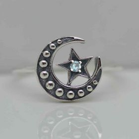 Sterling Silver Celestial Ring with birthstone Moon Crescent and Star