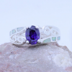 Sterling silver Inlaid 6 Fire Opal & purple Amethyst Ladies Ring