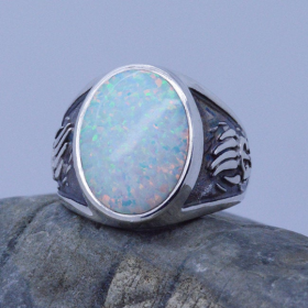Bear Paw Inlaid Fire Opal Gemstone Men Ring