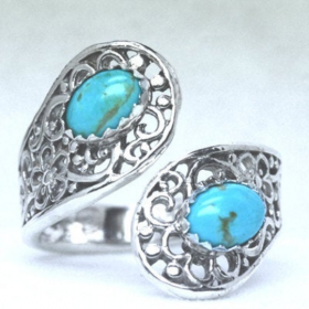 Double Gemstone Filigree Sterling Silver Adjustable Spoon Ring