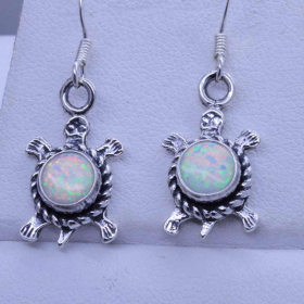 opal turtles earrings inlay peace