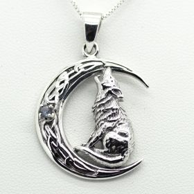 Howling Wolf sitting on the Moon pendant