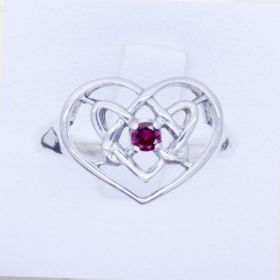 Celtic Filigree Eternity Heart Ring with birthstone sterling silver