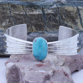 Sterling Silver Genuine Turquoise Hammered cuff bracelet