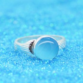 Mako ring with 10mm blue tiger eye