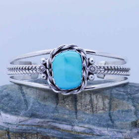 Sleeping Beauty Turquoise Sterling Silver women cuff bracelet