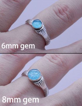 Mako ring with 6mm Mako Aqua Glass Cabochon or 8mm MAko Aqua Glass Cabochon