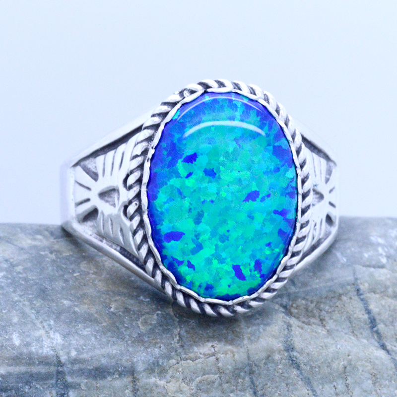 Silver Opal Ring Blue Opal Ring Handmade Opal Ring Sterling Silver 925 Ring