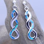 Blue Fire Opal Inlay Drop sterling silver 925 earrings