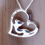 Cat heart Pendant sterling with zircon