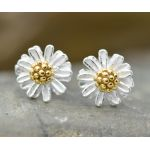 Daisy Stud Earrings Sterling Silver 925 and 18K Gold Center