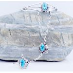 Sterling Silver Slave Bracelet with genuine Turquoise cuff to ring
