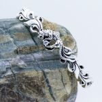 Tiger Cuff Bracelet with birthstone in Sterling Silver 925
