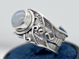 Rainbow Moonstone Sterling Silver Swirly Wide Band Wideband Ring