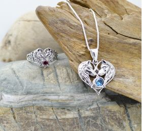 wolf couple heart jewelry set ring pendant with birthstones