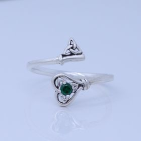 Celtic Heart Triquetra Key Adjustable Spoon Ring with birthstone